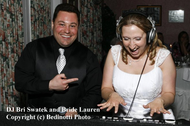 DJ Bri and Bride Lauren Courtesy of Bedinotti Photo