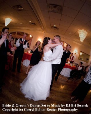 Bride & Groom's Dance, Set to Music by DJ Bri Swatek, Image Courtesy of Cheryl Bolton-Reuter Photography