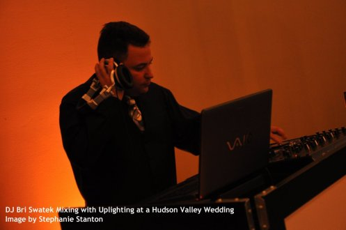 DJ Bri Swatek Mixing with Uplighting at a Hudson Valley Wedding, Image by Stephanie Stanton
