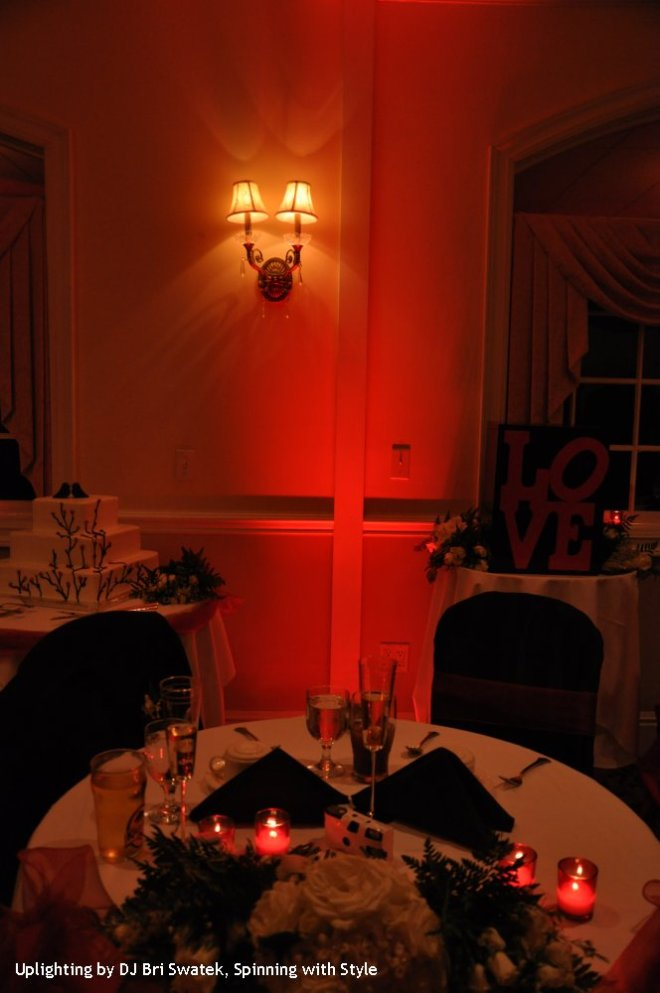 Uplighting in Red by DJ Bri Swatek Bride and Groom's Table at a Hudson Valley Wedding at The Links at Union Vale