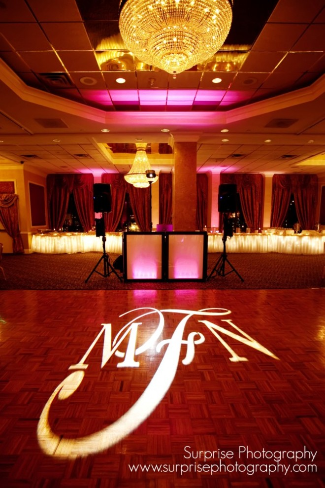DJ Bri Swatek Spinning with Style Uplighting and Signature Gobo Light at a Hudson Valley Wedding at the Poughkeepsie Grand Hotel Courtesy of Surprise Photography