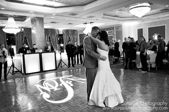 Hudson Valley Wedding at the Poughkeepsie Grand Hotel First Dance Music and Signature Gobo Light by DJ Bri Swatek Image Courtesy of Surprise Photography