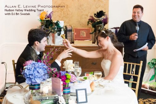 Bride and Groom Toast at their Hudson Valley Dutchess Manor Wedding MCed by DJ Bri Swatek Courtesy of Allan E. Levine Photography