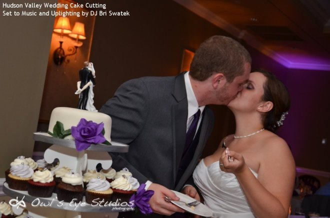 Hudson Valley Links at Union Vale Wedding Bride and Groom Cake Cutting Set to Music and Uplighting by DJ Bri Swatek Courtesy of Owl's Eye Studios