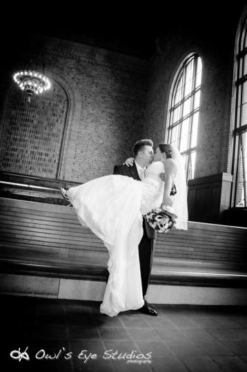 Hudson Valley Bride and Groom at Poughkeepsie Train Station Courtesy of Owl's Eye Studios