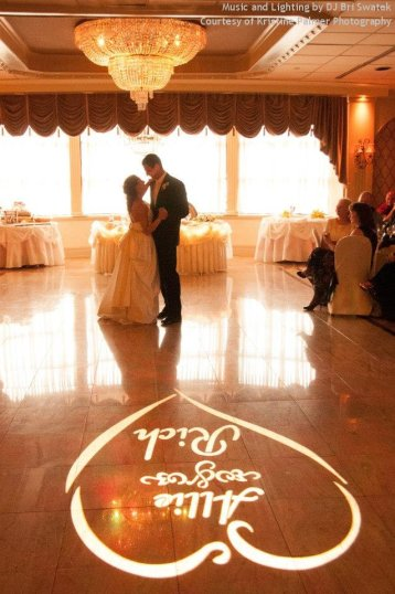 Hudson Valley Wedding First Dance at the Villa Borghese  Music and Gobo Light by DJ Bri Swatek Courtesy of Kristine Palmer Photography