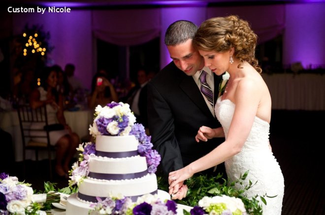 Hudson Valley Wedding Cake Cutting at Patriot Hills Set to Music and Uplighting by DJ Bri Swatek Courtesy of Custom by Nicole
