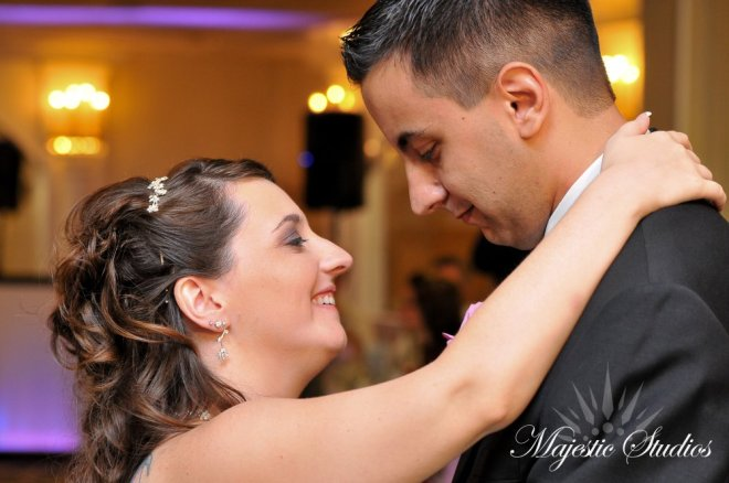 Hudson Valley Wedding First Dance at the Villa Borghese Set to Music by DJ Bri Swatek Courtesy of Majestic Studios