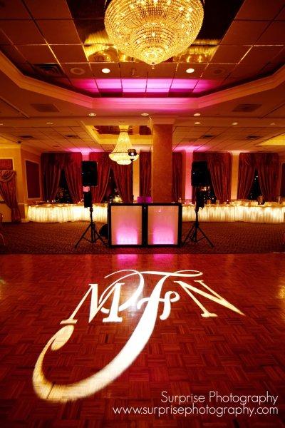 Hudson Valley Wedding DJ Bri Swatek Gobo Light Poughkeepsie Grand Hotel Surprise Photography