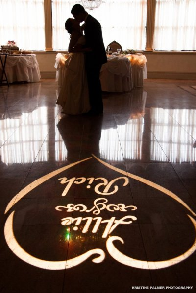 Hudson Valley Wedding DJ Bri Swatek Signature Gobo Light Villa Borghese Kristine Palmer Photography