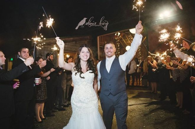 Hudson Valley Wedding Sparkler Send-Off at Full Moon Resort Set to Music by DJ Bri Swatek Courtesy of Alicia King Photography FB