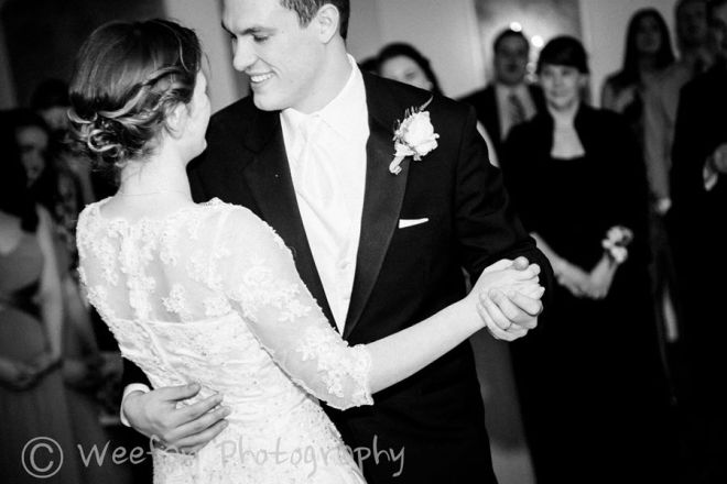 Hudson Valley Wedding First Dance at Dutchess Manor Set to Music by DJ Bri Swatek Courtesy of Weefan Photography