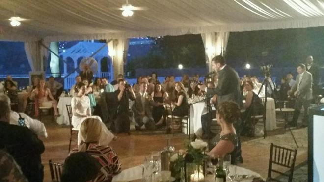 """""""Here is Jeff serenading his new wife, Laura, as a surprise wedding gift. Even the staff was crying."""" -- at Grandview Events"""