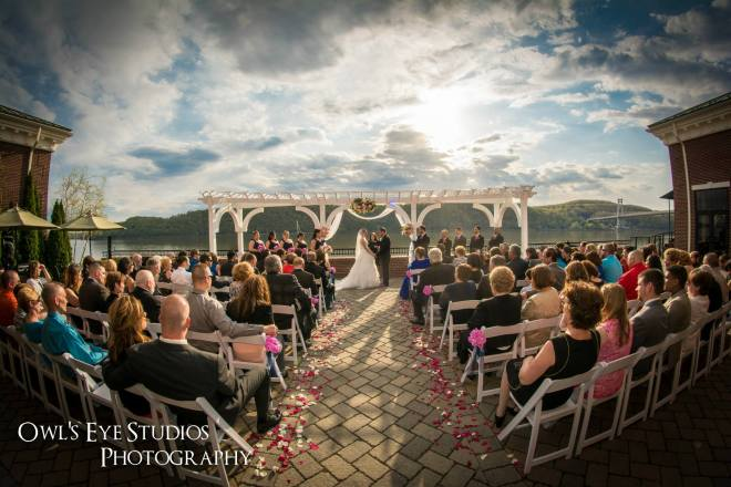 Hudson Valley Wedding Ceremony at the Grandview set to music by DJ Bri Swatek courtesy of Owl's Eye Studios Photography