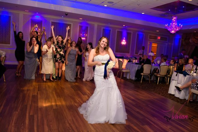 Hudson Valley Wedding DJ Bri Swatek Bouquet Toss Poughkeepsie Grand Hotel Vivian Photography ABCH
